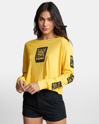 0 LA ROSA LONG SLEEVE BOYFRIEND T-SHIRT Yellow W4671RLR RVCA