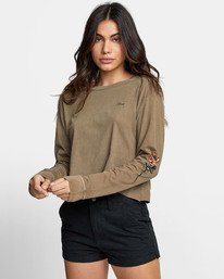 0 THORNS LONG SLEEVE BOYFRIEND T-SHIRT Green W4671RTH RVCA