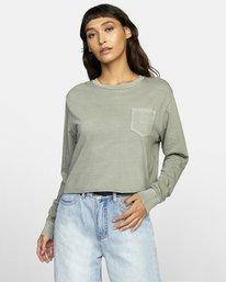 0 PTC LONG SLEEVE BOYFRIEND T-SHIRT Green W4673RPT RVCA