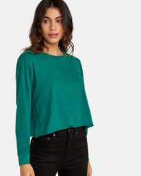 0 Paloma Long Sleeve Boyfriend T-Shirt Green W467WRPA RVCA