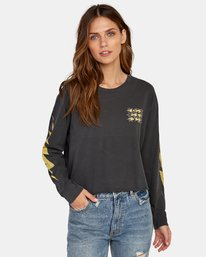 0 Voltage Long Sleeve Boyfriend T-Shirt Black W467WRVO RVCA