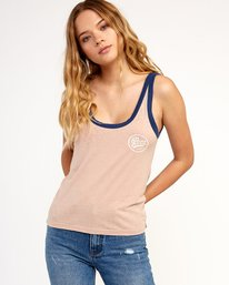 0 One Shott Ringer Tank Top Beige W471TRON RVCA