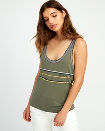 0 Another Stripe Ringer Tank Top Green W471URAN RVCA