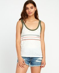0 Another Stripe Ringer Tank Top White W471URAN RVCA