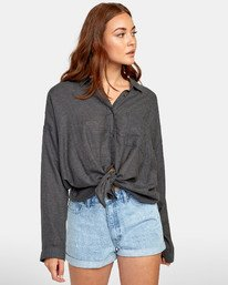 0 HABIT OVERSIZED BUTTON-UP SHIRT Black W5011RHA RVCA