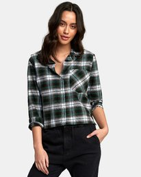 0 Daten Plaid Button-Up Shirt Black W501WRDA RVCA