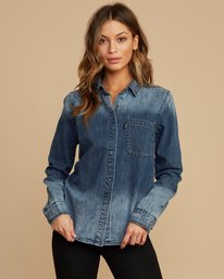 0 Unearthed Washed Denim Shirt Blue W508QRUN RVCA