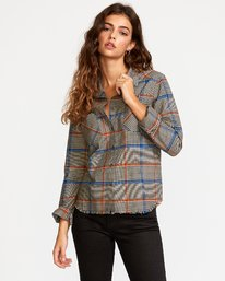 0 Jordan Plaid Button-Up Shirt Grey W508VRJO RVCA