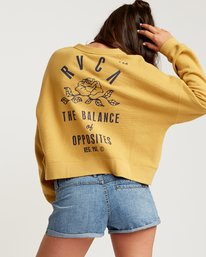 0 Rose State Fleece Pullover Sweatshirt Yellow W627URRO RVCA
