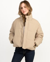 0 Eezeh Puffer Cropped Jacket White W703QREE RVCA