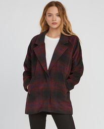 0 Camden Oversized Plaid Jacket Pink W705SRCA RVCA