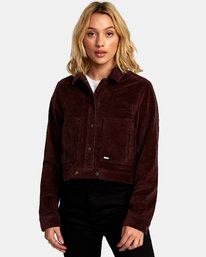0 Out Out Corduroy Cropped Jacket Brown W705WROO RVCA