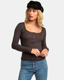 0 Guarded Ribbed Long Sleeve Top Blue W903WRGU RVCA