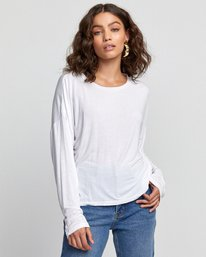 0 COUNTDOWN LONG SLEEVE TOP White W9073RCO RVCA