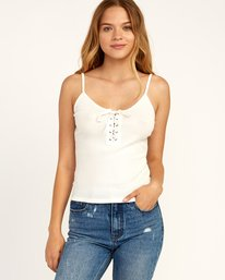 0 Hinged Lace-Up Cami Tank Top White W983TRHI RVCA