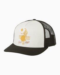 0 Grass Hula Trucker Hat Black WAHWMRGH RVCA