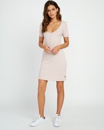 0 Go For Broke Ribbed Dress Pink WD01URGO RVCA