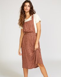 0 Sycamore Apron Midi Dress Brown WD08VRSY RVCA