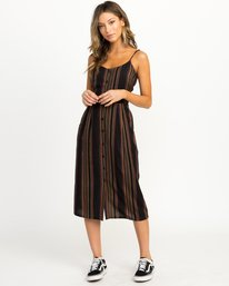 0 Medway Striped Midi Dress Black WD13QRME RVCA