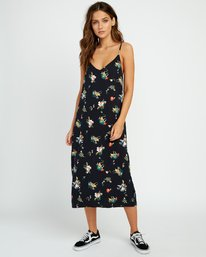 0 Maddox Floral Midi Slip Dress Black WD15URMA RVCA