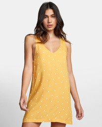 0 BOUNDARY DOT TANK DRESS Yellow WD171RBD RVCA