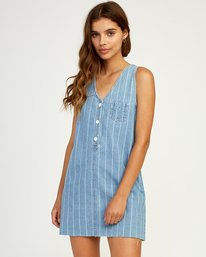 0 Trail It Striped Denim Dress Blue WD18TRTI RVCA