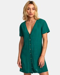 0 Guilt Button-Up Dress Green WD20WRGU RVCA