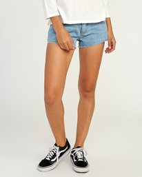0 Hello Mellow Denim Cutoff Shorts White WF206HEL RVCA