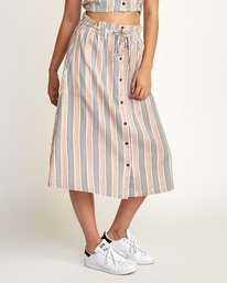 0 Oslo Striped Midi Skirt Beige WK01TROS RVCA
