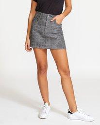 0 Rowdy Plaid Denim Mini Skirt Grey WK01VRRP RVCA