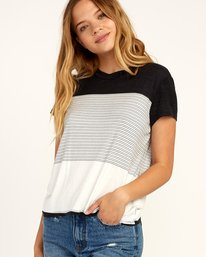 0 Recess Striped Knit T-Shirt Black WK905REC RVCA