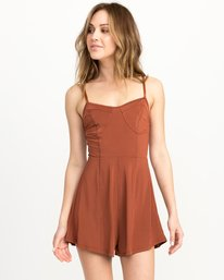 0 Bare Silky Lounge Romper Brown WL03QRBA RVCA