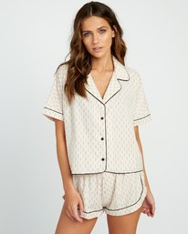 0 Tainted PJ Button-Up Top Beige WL03URTA RVCA