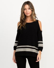 0 Marked Cutout Knit Sweater Black WLL01MAR RVCA