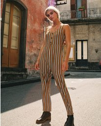 0 Carlton Striped Jumpsuit Orange WN08VRCA RVCA
