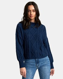 0 Attraction Knit Sweater Blue WV03WRAT RVCA