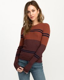 0 Even Striped Knit Sweater Blue WV04QREV RVCA