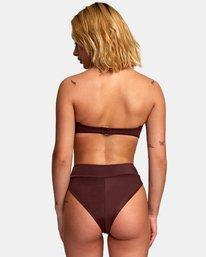 0 Solid High Rise Cheeky Bikini Bottoms Brown XB40URHC RVCA
