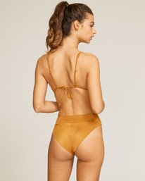 0 Solid High Rise Cheeky Bikini Bottoms Brown XB40URHC RVCA