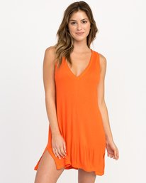 0 Leela Ribbed Cover-Up Dress Red XC03PRLE RVCA