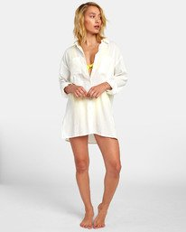 0 SUNDANCE OVERSIZED SHIRT DRESS White XC051RSU RVCA