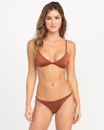 0 Solid Shimmer Triangle Bikini Top Brown XT01QRST RVCA