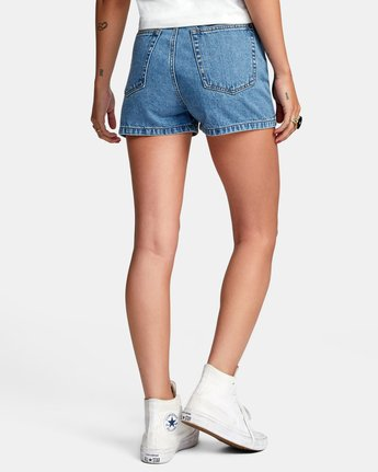 1 Azalea High Rise Denim Shorts Blue AVJDS00104 RVCA