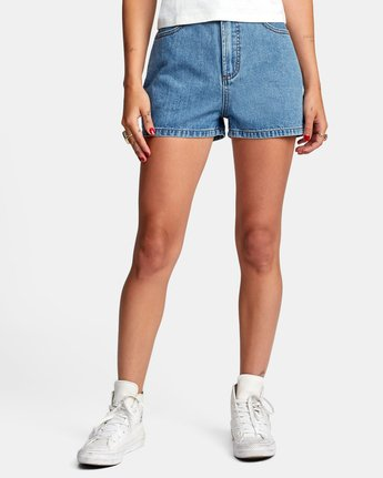 0 Azalea High Rise Denim Shorts Blue AVJDS00104 RVCA