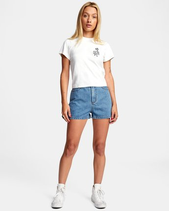 2 Azalea High Rise Denim Shorts Blue AVJDS00104 RVCA