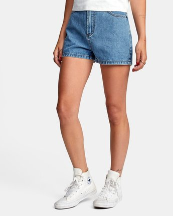 3 Azalea High Rise Denim Shorts Blue AVJDS00104 RVCA