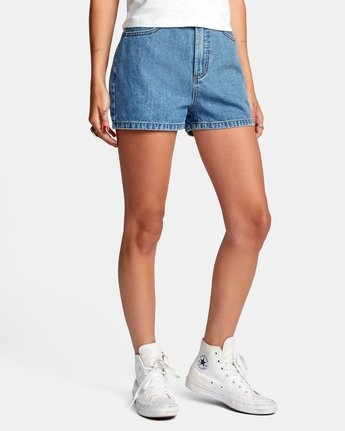 5 Azalea High Rise Denim Shorts Blue AVJDS00104 RVCA