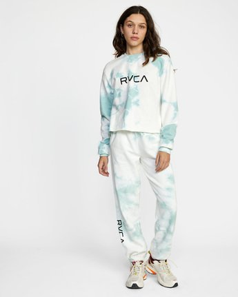 2 Big RVCA Crew Neck Sweatshirt Blue AVJSF00186 RVCA