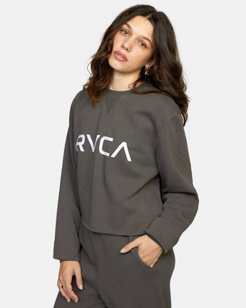 4 Big RVCA Crew Neck Sweatshirt Black AVJSF00186 RVCA