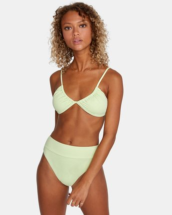 1 SOLID HIGH RISE BIKINI BOTTOM Green AVJX400121 RVCA